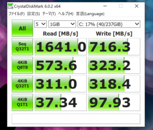 Surface Pro 6 SSDベンチ