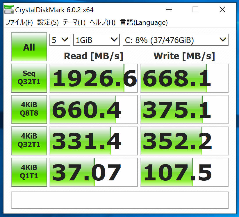 Surface book2 SSDベンチ