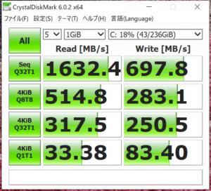 Laptop2 SSDベンチマーク