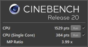 Surface Pro7 CINEBENCH