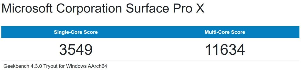 Surface Pro X CPUベンチ