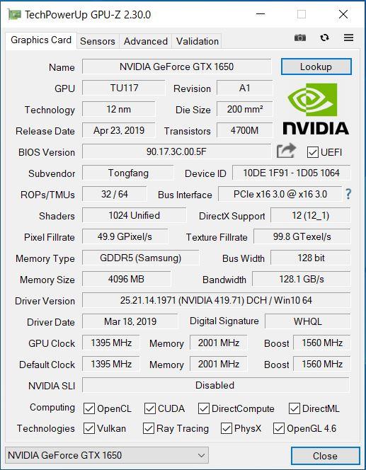 GCR1650GF7 GPU性能