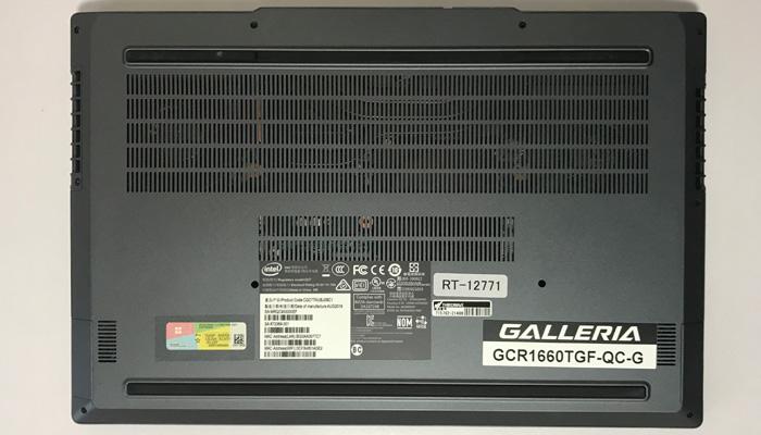 GALLERIA GCR1660TGF-QC-G 底面