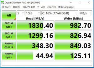 GALLERIA GCR1660TGF-QC-G SSDベンチマーク