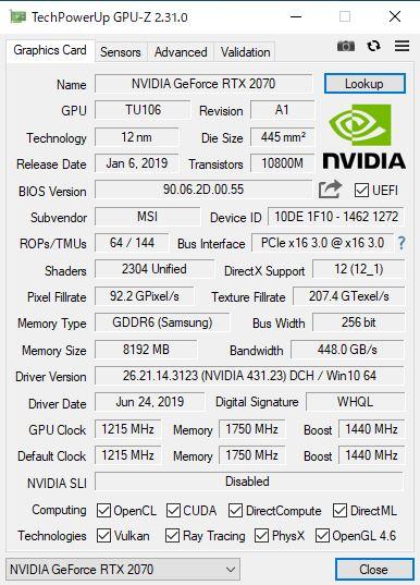 GALLERIA GCR2070RNF-E GPU-Z