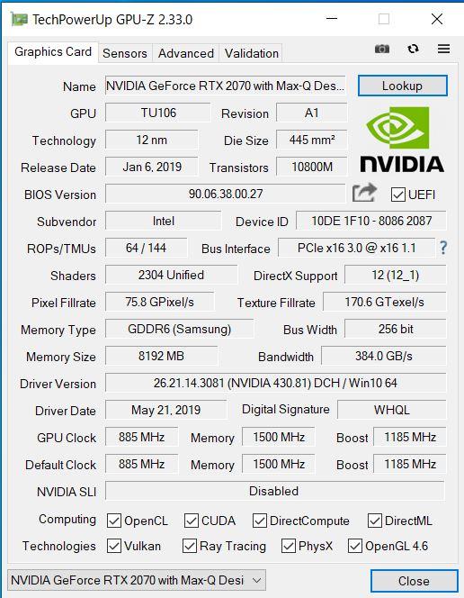 GALLERIA-GCR2070RGF-QC-G GPU-Z