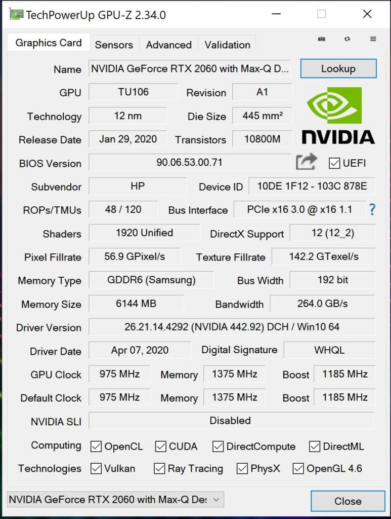 HP ENVY 15 GPU-Z