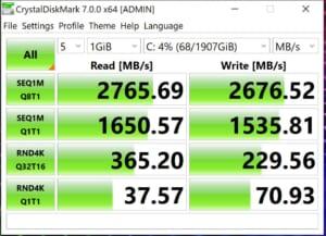 HP ENVY 15 SSDベンチマーク