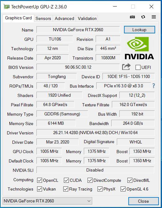 GR2060RGF-T GPU-Z
